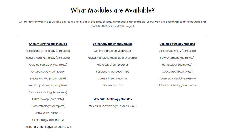 pathelective module list